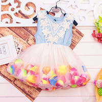 Wholesale 2014 new summer girls denim Tank Dress lace dress yarn flower girl princess dress fashion cute children s clothing tutu dress party dress