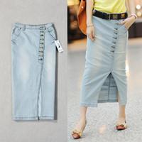 Largo jean bordea las mujeres 2015 de la moda más tamaño recta delgada longitud snkle falda del busto del dril de algodón con el botón de la alta calidad del envío libre