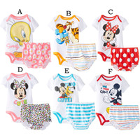 Unisex Summer 100% Cotton Wholesale 3 sets lot 2014 New Arrival Baby Summer Romper Infant Cartoon Cotton Jumpsuit+Brief Set Toddler Bodysuit In Stock Items
