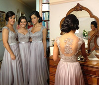 Wholesale 2014 Hot Sale Sheer Bridesmaid Dresses for Wedding Party Illusion Back Long A Line Formal Evening Dresses with Appliques and Beads E513