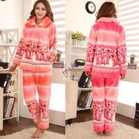 Wholesale New Women s Winter Warm Long Sleeve Cute Bear Pattern Flannel Pajamas Sets Ladies Nightgown Sleepwear