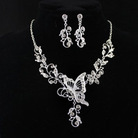Wholesale Wedding Jewelry Graceful Silver Color Alloy White Rhinestone Butterfly Leaf Pendant Necklace and Dangle Earrings Sets