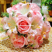 Wholesale Rose Artificial Bride Bouquet For Wedding Korean Wedding Bride Holding Flowers With Corsage amp Wrist Flower