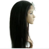 Wholesale Classic Straightly Natural Black Virgin Malaysian Human Hair Lace Front Wigs with Sillk Top