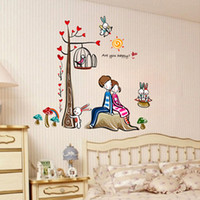 Wholesale Romantic Lovers Tree Removable Funlife Wall Stickers Home Decoration Decor Decal Art Kids DIY Rooms Adesivo De Parede Sticker Decals H10330