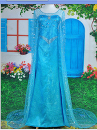 Wholesale Snow Romance Custom made Movie Cosplay Costume Princess Elsa Dress from Movie Frozen for Adult Cosplay Dress