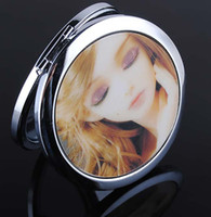 Wholesale EMS lady MakeUp Mirror cosmetic pocket compact stainless makeup mirror lovely girl K07867