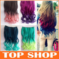 Wholesale Hair pieces Cosplay Colorful Clip On In Hair Extension Wig Piece One style Curls Gradient Hair Piece JF1085