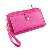 Wholesale Fashino New Design Concise Ladies Favorite Colorful Pu Leather Clutch Wallet Women Purse Handbags