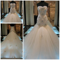 Wholesale Sexy Sweetheart Beaded Lace Appliques Crystals Tulle Cathedral Train Backless Mermaid Wedding Dresses