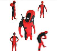 Precio de Trajes de cuerpo de spandex al por mayor-Venta al por mayor-Full Body Deadpool Lycra Spandex traje de Halloween Zentai traje rojo de lujo con
