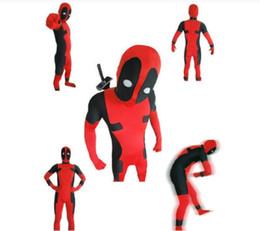 Trajes de cuerpo de spandex al por mayor en venta-Venta al por mayor-Full Body Deadpool Lycra Spandex traje de Halloween Zentai traje rojo de lujo con