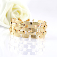 Link, Chain Alloy  New 2014 Fashion Jewelry Gold Color Alloy Hollow Out Link Chain Punk Style Bracelets and Bangles For Women