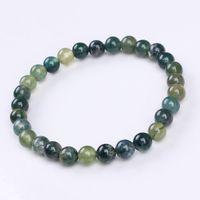 Wholesale Charm Natural Aquatic agate Stone Round Shape Beads Stone Bracelets Jewelry mm