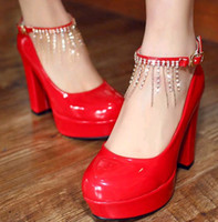 Wholesale Hot sale new red patent leather waterproof taiwan round head high heels shoes wedding shoes party evening shoes for Bridal Shoes huihui2014