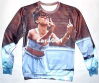 Cotton Cardigan Hoodies,Sweatshirts 2014 New 3D Rihanna sweatshirt men women's novelty fuck finger print pullover hoodies full sleeve casual shirts for woman