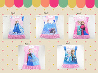 Wholesale Frozen dress Frozen short sleeve tee Frozen clothing night skirt Sleep shirts night gowns elsa anna