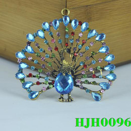 Wholesale WISHCART Alloy En Alibaba Stock Fashion Peacock Pendant for Keychain Jewelry Necklace Scarves Diy Findings Charms Hjh0096