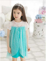 2014 New Frozen Dress Baby Girls Elsa Dresses Princess Lace ...
