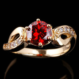 New Ladies Round Cut Yellow Gold Plated Red Garnet S925 Sterling Silver Ring Anniversary Gift Sizes & Colors Selectable R018