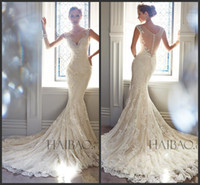 Wholesale Best Selling Vintage Wedding Dresses V Neck Sheer Straps Sequins Beads Mermaid Bridal Gowns Lace Button Back With Tulle Sweep Train Hot