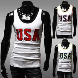 Wholesale Fashion Letters Printed Men s Tank Top Slim Cotton Blended Round Neck Sleeveless Pullover Colors Summer Top Men s Leisure Tank Tops ZT029