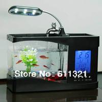 Wholesale Mini USB LCD Desktop Lamp Light Fish Tank Aquarium Timer LED Clock Container V3249