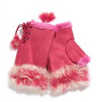 Wholesale 2014 New Arrival Women s Rabbit Fur Hand Wrist Fingerless Gloves Warm Winter for keyboard PSM010