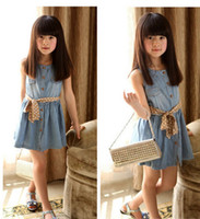 Cheap Korean children's clothing girls summer sleeveless denim dress models