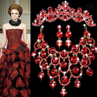 Wholesale Wedding Bridemaid Jewelry Set Party Red Czech Rhinestone Crystal Necklace Earring Tiara Jewelry Set White Gold Plated