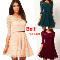 Gorgeous Women's Lace Dress Party Dress Round Neck with Belt...