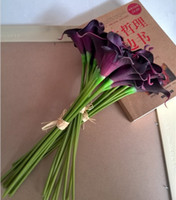 Wholesale 14 inch Real touch dark purple calla lily bouquets