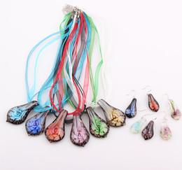 Wholesale Hot sale Fashion Baroque Art Lampwork Murano Glass Pendant Necklace Earrings Jewelry Set ZST41