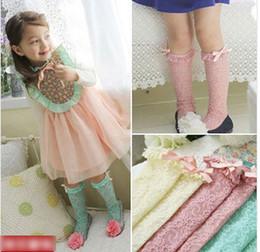 Wholesale 2014 Summer Fresh Floral Hollow Lace Girls Multicolor Socks Kids Candy Color Hosiery Socks Children Colorful Middle Sock I0750