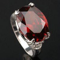 al por mayor real de plata anillo rojo-Los colores múltiples de los tamaños del granate rojo real del anillo de la plata esterlina 925 de la nueva de la promoción de los nuevos hombres calientes grandes ovales de la piedra para la joyería bien escogida R023 de la manera