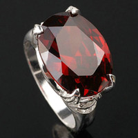 Wholesale Promotion New Hot Big Oval Stone Women s Real Sterling Silver Ring Red Garnet Multiple Sizes Colors for Choice Fashion Jewelry R023