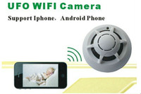 Wholesale new P2P Wireless UFO WiFi Smoke Detector Camera for iPhone Android Smartphones PC internet live Video Monitoring