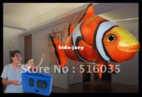 Wholesale FreeShipping High Quality Inflatable Blimp Balloon Toy Clown Fish or Shark Remote Control Flying Fish Kids Gift