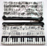Plastic keyboard piano - Hot sale cute fashion piano Music stationery pen bags pencil case cheap note keyboard plastic transparent cosmetic bag free shippin