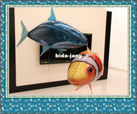 Wholesale New RC Remote Control Air Flying Fish Shark Clownfish Inflatable Toy Swimming Fish Swimmers In The Air