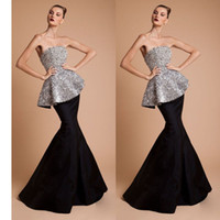 Reference Images Strapless Sequined 2014 Crystal Mermaid Evening Dresses Strapless Floor-Length Peplum Beaded Sequins Lace Party Dresses dzhy05