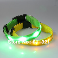 Wholesale 6 colors Glow LED Blink Cat Dog Collars Pet Flashing Light Up Training Safety Net Collar XS inch