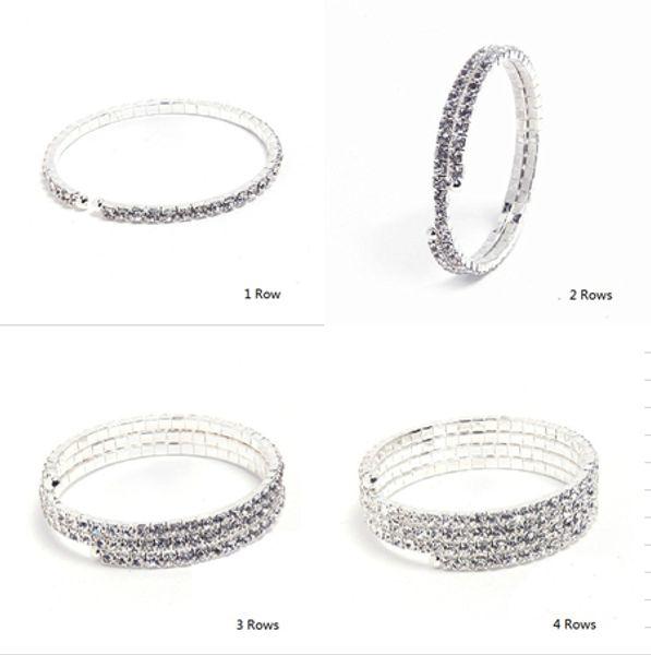 Блестящие Серебряные Полный Горный Хрусталь Кристалл Diamante Невесты Браслет Брасл