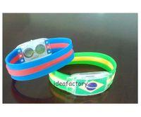 Wholesale World Flags Flash bracelet light sticks electronic LED luminous bracelet wristbands Wrist Souvenir for The Brazilian World Cup