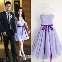 Wholesale Sweet and fashionable Knee length Violet Party Dress bridesmaid dress for Women Vintage Dress Wedding Dress V Neck Bridesmaid Dresses