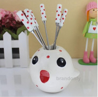 Wholesale 2014 New Creative Gifts Ceramic Stainless Steel Fruit Fork Cute Red Dot Fruit Fork Baskets