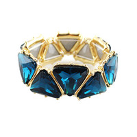 Wholesale Fashion Green Blue Simulated Gemstone Gold Color Alloy Elastic New Spring Designer Bracelets and Bangles for Women