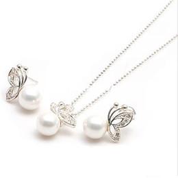 Wholesale PDRS ZG001 sistemas de la joyería de la manera de la perla ajustes de la joyería de la manera Pendantearrings twinset joyería de la vendimia collar libre