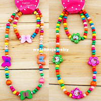 beads jewellery designs - Sets Mixed Design Wooden Bead Cute Necklace Bracelet Party Gift Kid Children s Jewellery Set