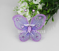 Wholesale HOT sale mm purple Organza wire butterfly with glitter wedding decorations